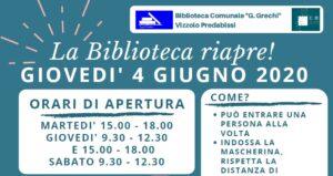 La Biblioteca riapre il 4 giugno!