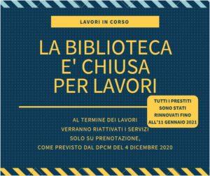 BIBLIOTECA CHIUSA PER LAVORI