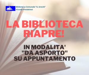 """LA BIBLIOTECA RIAPRE! IN MODALITA' """"DA ASPORTO"""" SU APPUNTAMENTO"""