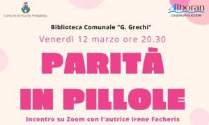 PARITA' IN PILLOLE – incontro online con l'autrice Irene Facheris, venerdì 12 marzo h. 20.30