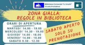 BIBLIOTECA IN ZONA GIALLA: SERVIZI ATTIVI E MODALITA' DI ACCESSO