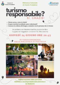 INCONTRO SUL TURISMO RESPONSABILE – ONLINE GIOVEDI' 24 GIUGNO h. 20,45